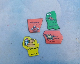 Vintage State to State Game Pieces, 80s Game, Vintage Game Pieces, Arkansas Game Piece,  Wisconsin Game Piece,  Iowa Piece