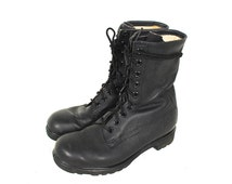 90s Combat Boot - 90s Grunge Black Leather Army Boot - 90s Punk 9 Hole Black Leather Army Boot - 90s Pebbled Leather Combat Boot Size 7 US W