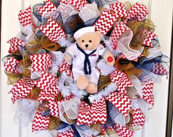 US Navy Musical Bear Wreath, US Navy Sailor Suit, Military Gift