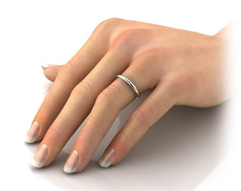 Platinum 1mm wide (thin) Premium Quality Comfort Fit Ring