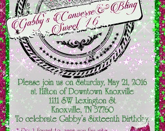 Sweet 16 Invitations, Sweet Sixteen Invitations, Converse and Bling Sweet 16, Converse Themed birthday