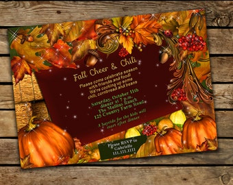 Fall party invitation, Fall harvest party, Autumn party invitation, Fall Festival