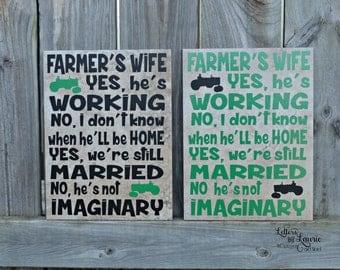 Farmer Quote, Farmers Wife poem, Unique Farmer Gift, Farmer's Wife, Family Gift, Family Tile, Family Sign