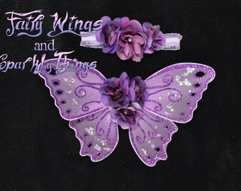 Lavender and purple newborn or baby butterfly fairy wings perfect for photography prop or portraits