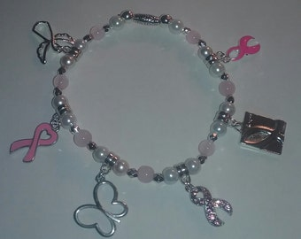 Pink Ribbon Awareness Charm Bracelet with 6 Charms