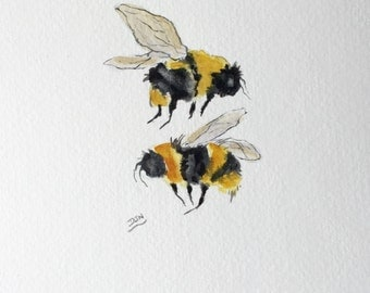 Bee Painting, Original Watercolour, Bee Wall Art, Insect Animal Portrait, Kitchen Decor Art, Gift  for Beekeeper, Beekeeping, Honey Bees Art