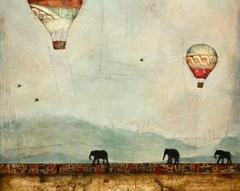 Hot Air Balloons and Elephants, Elephant Print, Travel Art, Hot Air Balloon Print