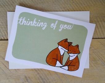 Thinking of You Card -  Fox Stationary -  Original Artwork - Blank Card