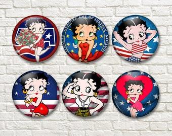 Betty Boop All  American, Fridge Magnets, Locker, Gifts - MA0908
