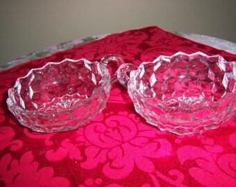 Vintage Set of Two Cubist or Fostoria Bowls One Finger Handle Crystal