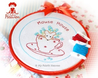 Mouse-House Embroidery Pattern & Photo Tutorial, Easy