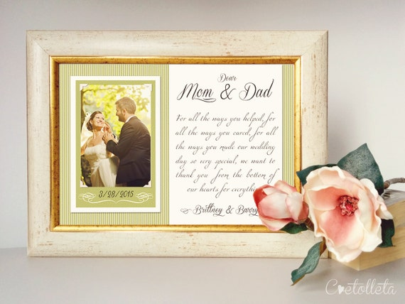Parents Wedding Gift-Parents Thank You gift Wedding, Gift for Parents ...