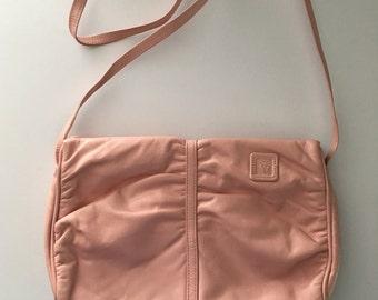 Vintage 80's Anne Klein for Calderon Baby Pink Leather Handbag / Shoulder Bag