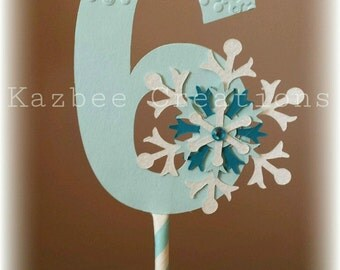 Number 6 Frozen Inspired Cake Topper