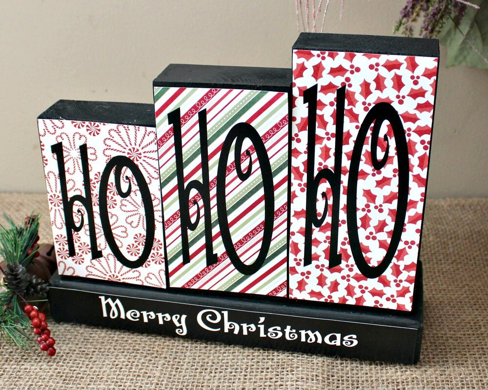 Ho Ho Ho Sign Merry Christmas Wood Blocks Holidays Mantle
