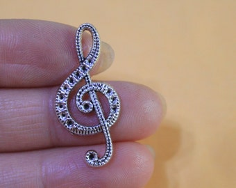 Antique silver Music Note Charms / silver Music Note Pendants 15*31mm