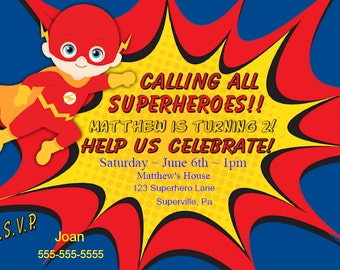 Flash Invitation | Flash Party Invitation | Flash Superhero Birthday Party Invitation | Boy Personalize for You