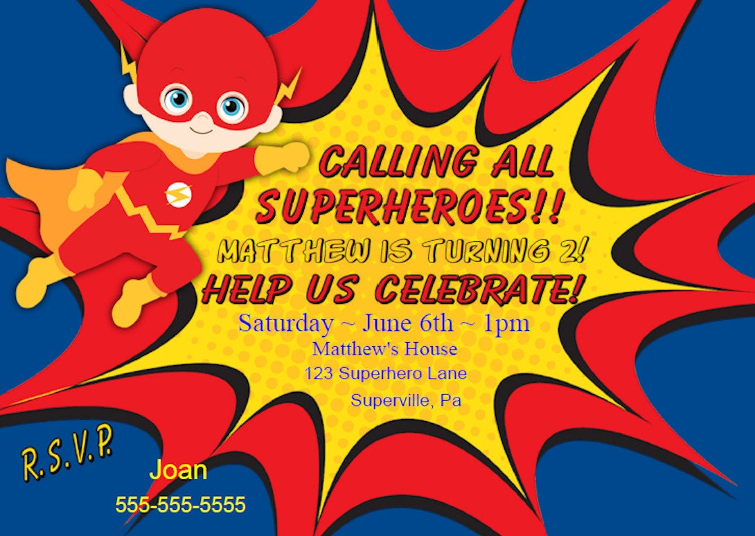 Kids invitation funpartysupply flash invitation flash party invitation flash superhero birthday party invitation boy personalize for you filmwisefo