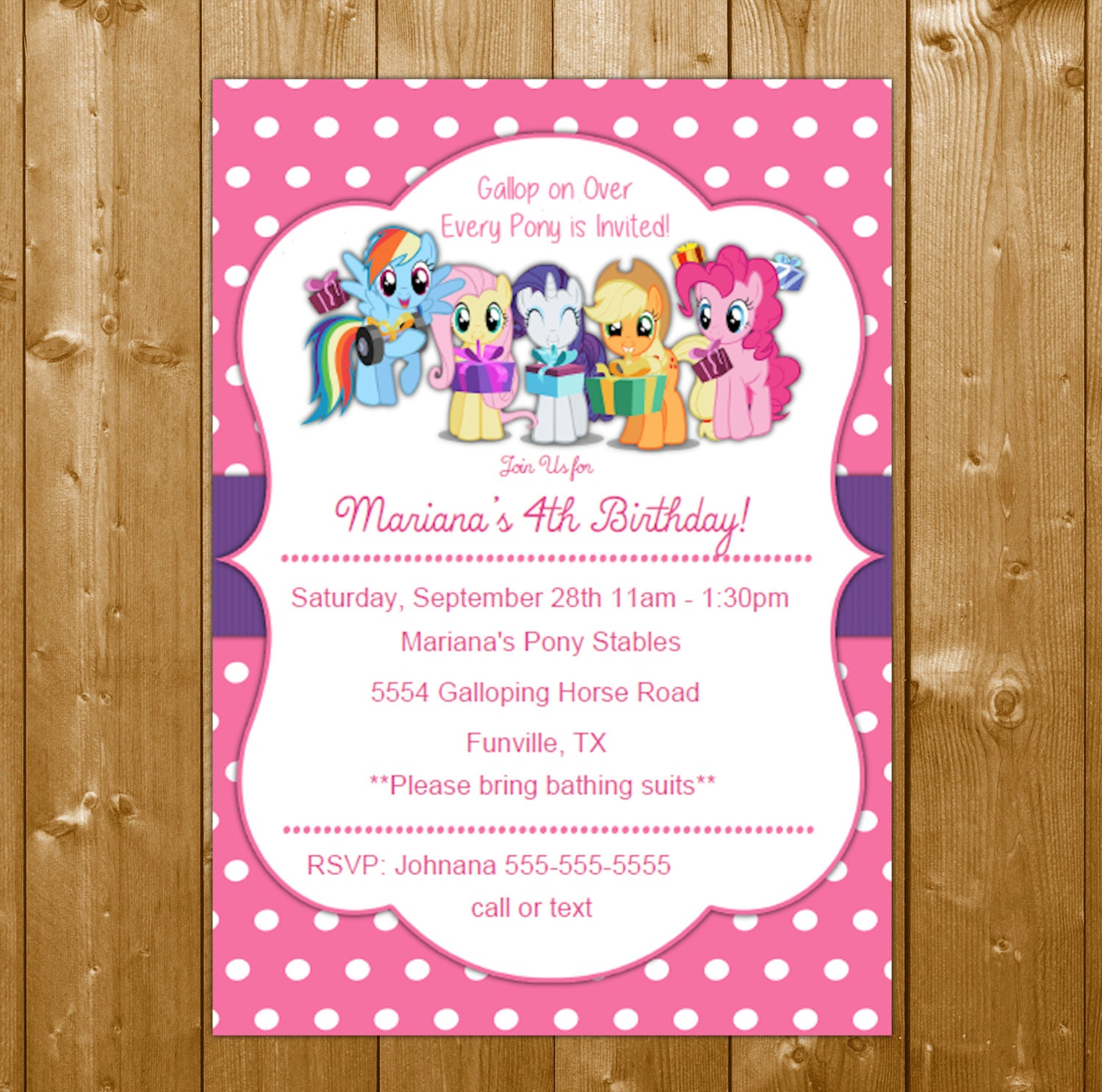 My Little Pony Invitation Birthday Party Invitation My little Pony – Pony Party Invitations