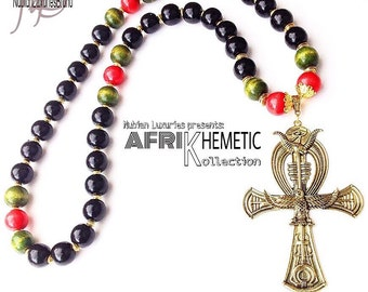 African Jewelry, Large Mens Ankh Necklace, Ankh Jewelry,Pan African, Kemetic Jewelry, Marcus Garvey, Black Pride, PanAfricanist, Afrocentric