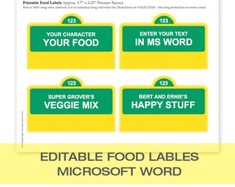 Sesame Street EDITABLE Food Labels | You edit in MS Word |  Create as many labels as you need! | Instant Download