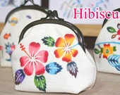 Bingata dyed coin purse-Hibiscus and Sea of Okinawa-