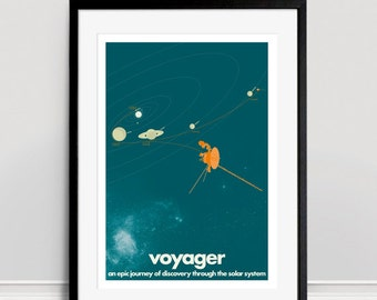 Voyager Space Probes A3 Giclee Print - Turquoise