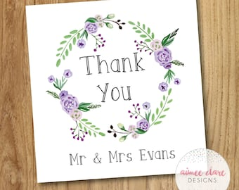 Personalised Purple Floral Wreath Thank You Wedding Card - Pack of 10