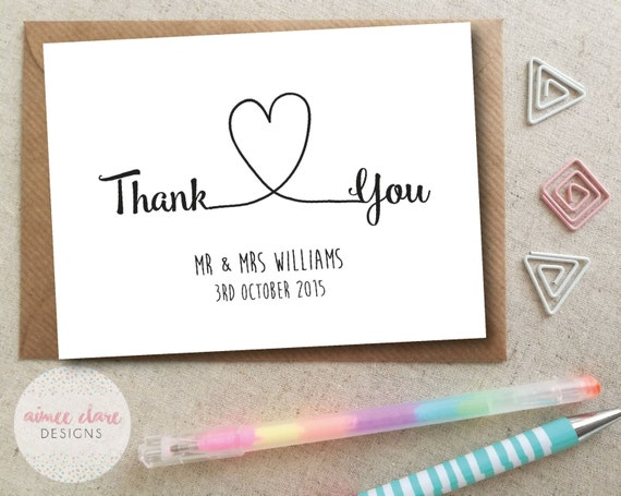 Personalised Thank You Wedding Cards Pack Of 10