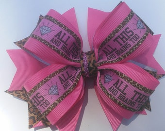 Pink Boutique Hair Bow, Animal Print Hairbow, Stacked Hairbow, Girls Hairbow, Toddler Hair Bow, Pinwheel Hairbow