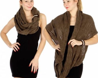 Infinity Brown Scarf with Leather Band