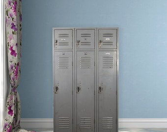 Vintage Gray Lockers with Overhead Cubby