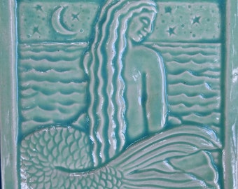 "SHELL Mermaid tile 4"" square"