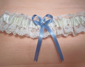 Ivory wedding garter bridal garter with diamonte and something blue