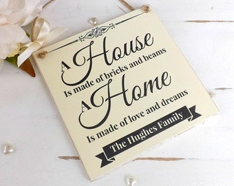 Personalised Family Plaque, New Home House Warming Gift Friend Mum Nan