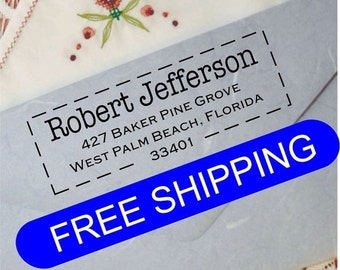 20% OFF NOW Custom Stamp - Custom Address Stamp - Custom Rubber Stamp - FREE Shipping - (Dbj_252)