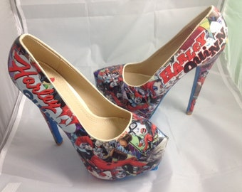 Harley Quinn Comic Book Shoes, Superhero Heels, Unique and One of a Kind.