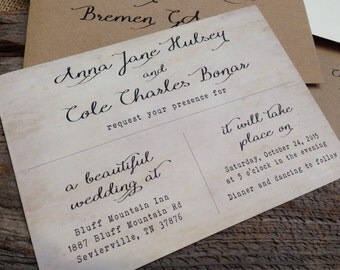 Vintage Wedding Invitation, Rustic Wedding Invitation, Calligraphy Wedding Invitation, Typewriter Wedding Invitation