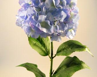 "Silk Hydrangea in Blue - 35"" Tall"