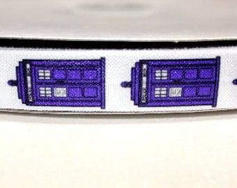 "5/8"" Tardis fold over elastic - Tardis FOE - Doctor who ribbon - tardis ribbon - dr who - police box"