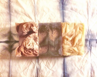 Organic Freak Coldprocessed Soaps •TRYPTIC PACK• choose your 3 bars! Handmade with Love in East London-Organic Artisan soaps, natural soap