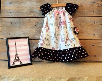 Baby Paris dress with gorgeous sparkly Eiffel Tower fabric in sizes 6-12 month, 12-18 month and size 2T.  Ooh La La!