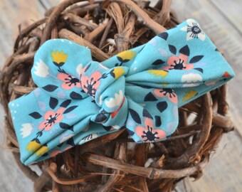 Flowerbed Blue Knot Headband
