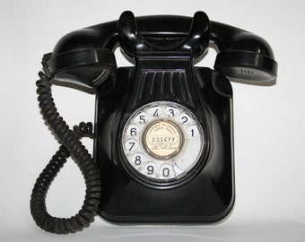 Black Vintage Retro Analogue Wall Hanging Phone Bakelte Body 30's 40's Heavy 9'