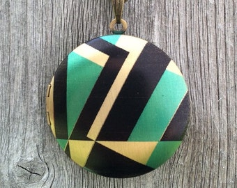 Geometric Turquoise & Black Vintage Photo Locket with Green and Black Crystal Charm