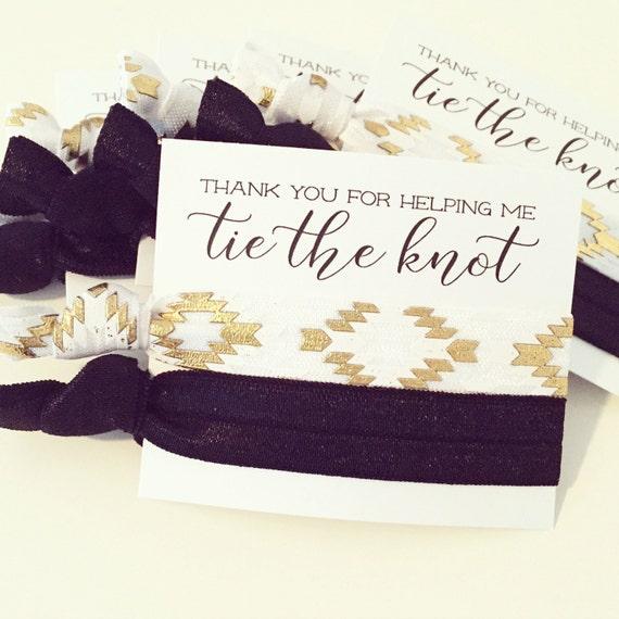 Hair Tie Bridesmaid Gift | Black, White + Gold Aztec Hair Ties, Bridesmaid Hair Tie Favor, Black White Gold Bohemian Boho Bridesmaid Gifts