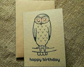 "Wise Owl ""Happy Birthday"" greeting card"