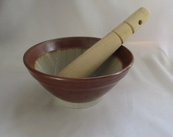 Vintage Japanese Stoneware Mortar & Wooden Pestle ~ Unique Grinding Surface