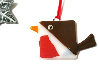 Fused glass Robin,1 X Christmas red tree decoration, modern square drawer knob,ornament,hanging red robin suncatcher, wedding favour, DC804,