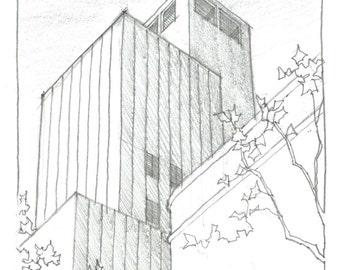Original Drawing // Architectural Drawing // New York City